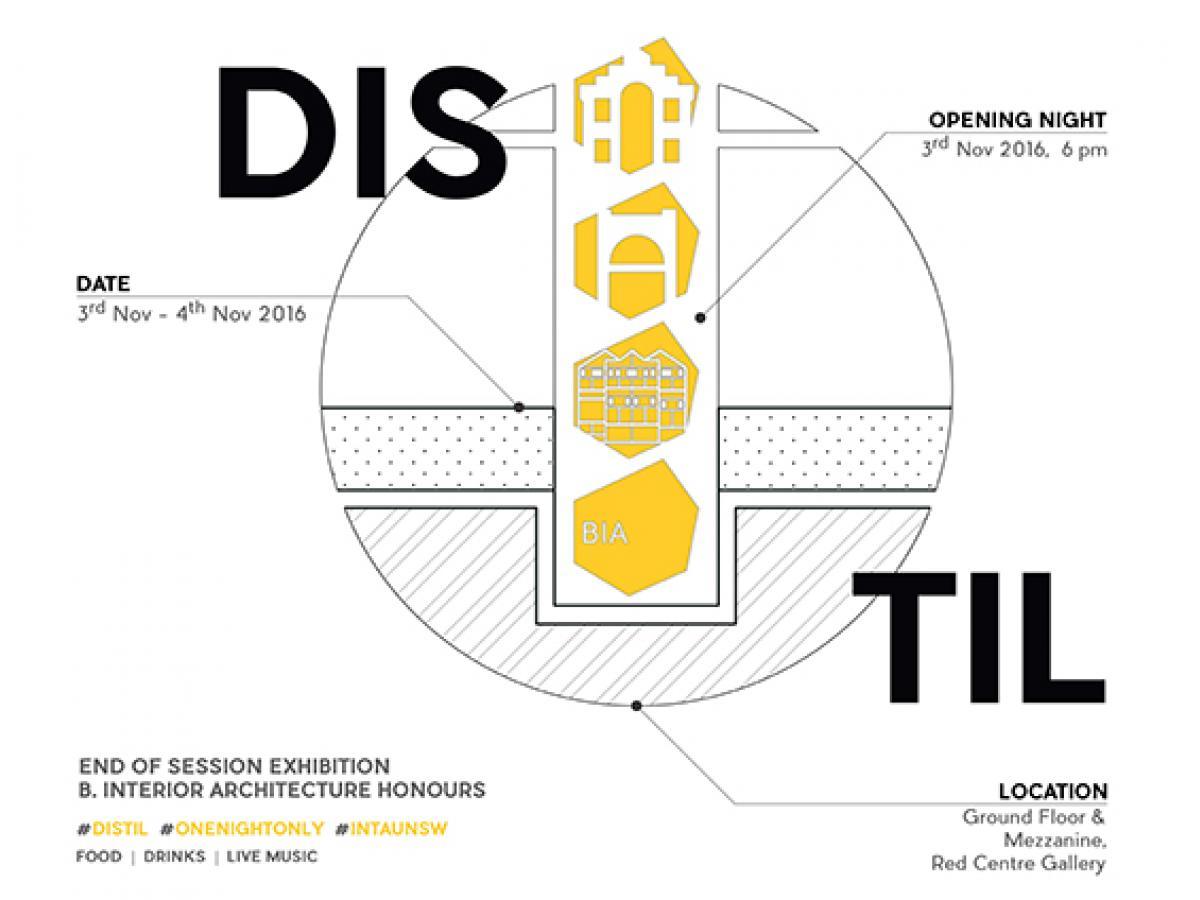 distil interior architecture end of session exhibition built