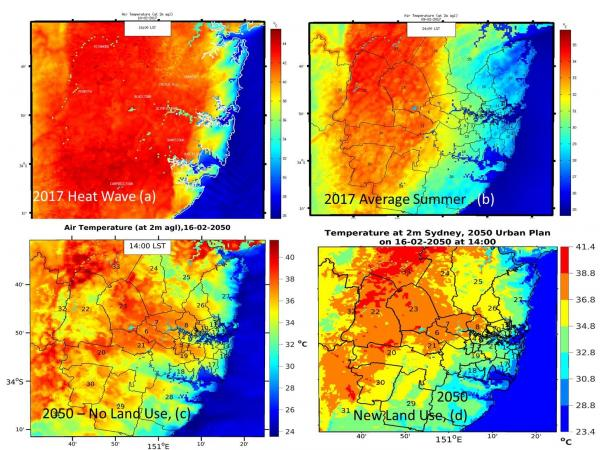 Distribution of ambient temperatures in Sydney calculated by mesoscale modelling: (a) one heat wave day in 2017; (b) a typical summer day 2017; (c) a typical summer day 2050 without taking into account change in land use: (d) a typical summer day 2050 taking into account projected land use change and population increase (Santamouris 2019).