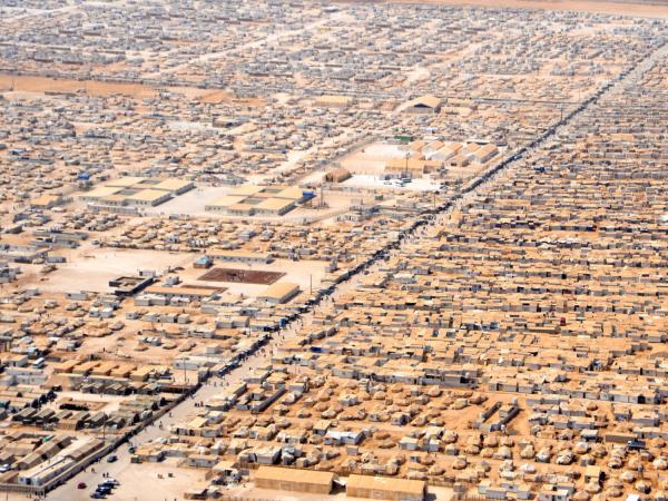 Arial photo of a refugee camp