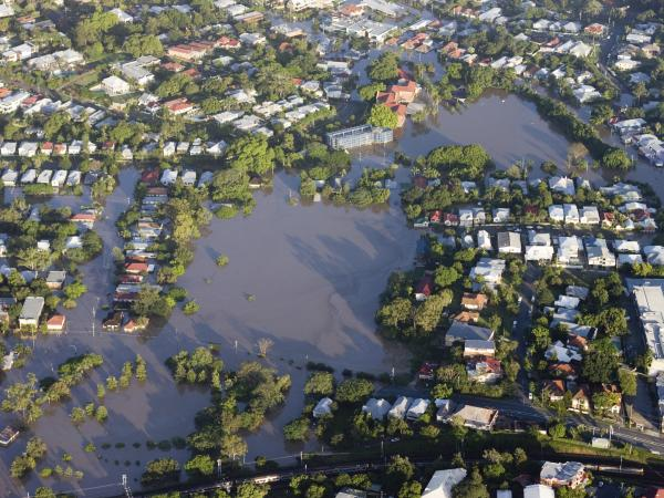 Aerial view of the 2011 Brisbane river flood. Image: iStock