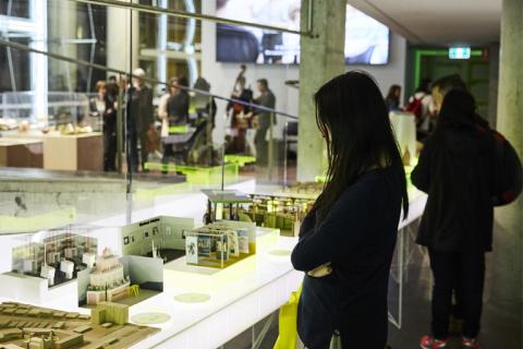 Woman looking at an exhibition