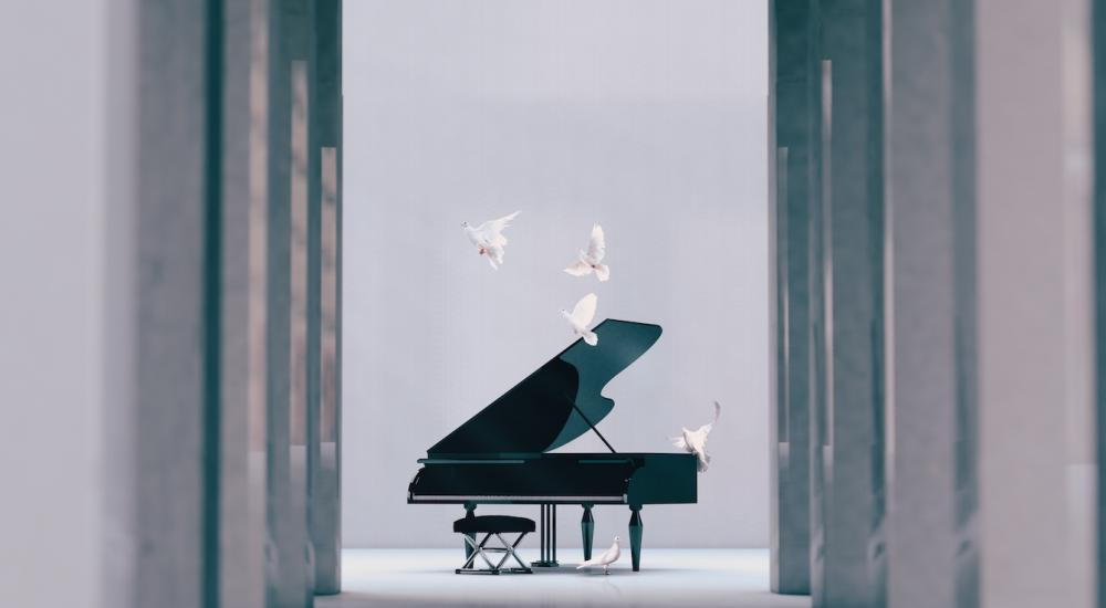 Piano in empty interior