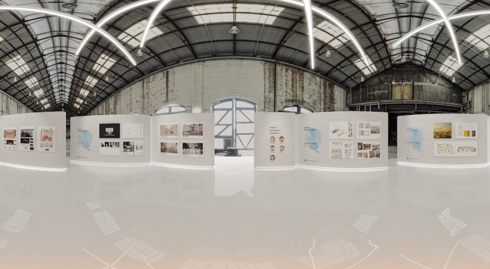 Virtual interior architecture exhibit in warehouse