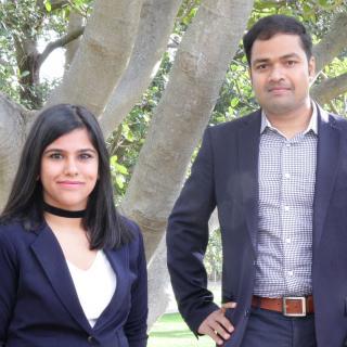 Built Environment student Deeksha Nathani (L) and researcher Sarbeswar Praharaj (R)