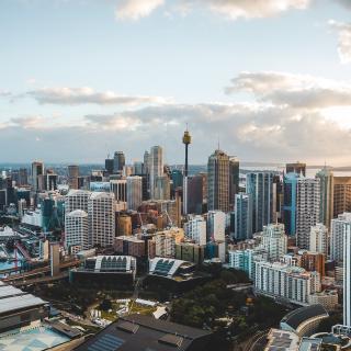 Panaroma drone shot of Sydney CBD