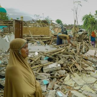 A village lies in ruins after an earthquake on the Indonesian island of Lombok this year. Photo: Shutterstock