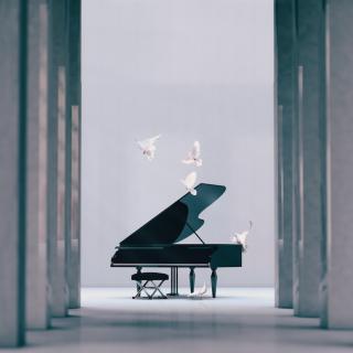 Piano in empty interior