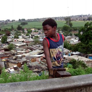 Young boy in urban setting